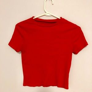 red cropped h&m top